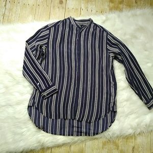 Madewell Silk Button Front High Low Stripe Top
